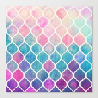 watercolor Canvas Prints featuring Rainbow Pastel Watercolor Moroccan Pattern by micklyn