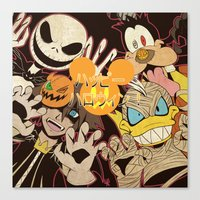 kingdom hearts Canvas Prints featuring Halloween Kingdom Hearts by kitsune23star