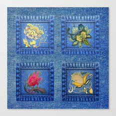 Denim Square Patches Canvas Print