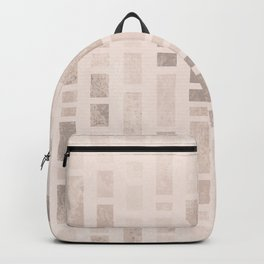 Geometric rectangle column tiles pattern - Brown & Beige Backpack