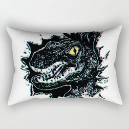 Grunge Velociraptor Portrait Rectangular Pillow