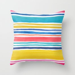 Sunny Day Stripes Throw Pillow