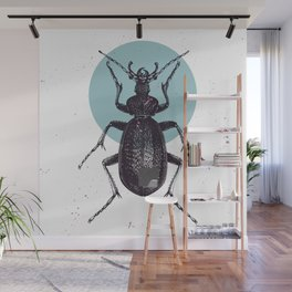 Black Beetle bug with blue moon Wall Mural