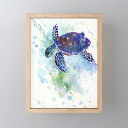 Happy Sea Turtle, aquatic marine blue purple turtle illustration Framed Mini Art Print