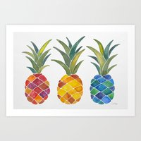 pineapples Art Prints featuring Pineapples by Cat Coquillette