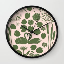Pond Affair in Pink and Green Wall Clock