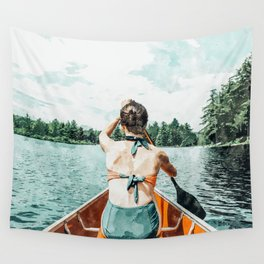 Row Your Own Boat #illustration #decor #painting Wall Tapestry