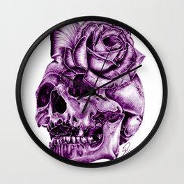 Ultra Violet Skull Rose morph Wall Clock