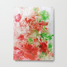 Spring Floral #3 - Coral, Orange & Green Abstract Print Metal Print