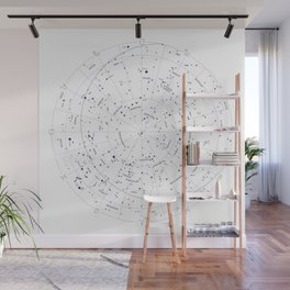 Constellation Map - White and Indigo Wall Mural
