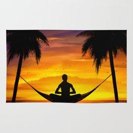 Yoga at sunset Rug