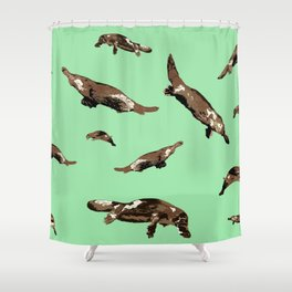 Platypus Ornithorhynchus anatinus green Shower Curtain