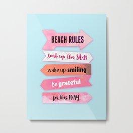 Summer Beach Rules Metal Print
