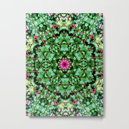 mandala with green leaves Metal Print