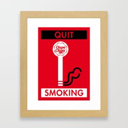 Illustrated new year wishes: #2 QUIT SMOKING Framed Art Print