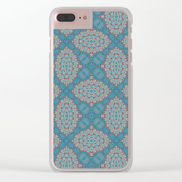 Tribal Tile Blue Clear iPhone Case