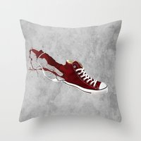 converse Throw Pillows featuring Converse by Gayle Storm