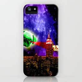 Pugs are so lazy eyed, They make great alien invaders iPhone Case