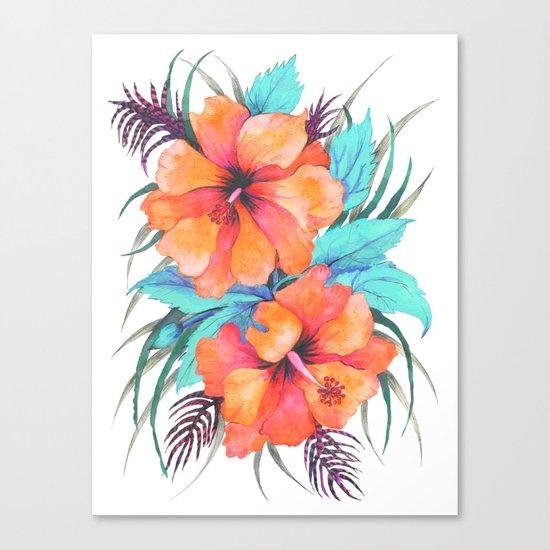 TROPICAL FLOWER {orange hibiscus}  Canvas Print