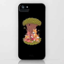 Cartoon Fox Family Cute Foxes With Tree iPhone Case