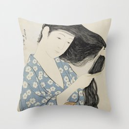 Woman in Blue Combing Her Hair - Hashiguchi Goyo Throw Pillow