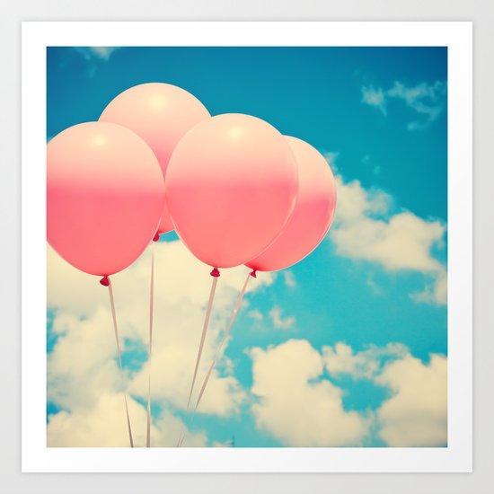 Sweet Pink Balloons Art Print