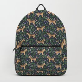 Border Terriers Spring Floral on navy - pattern Backpack