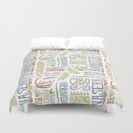 hand lettered italian word pattern Duvet Cover
