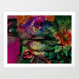 Mysterious Jungle Beauty: a colorful abstract piece in reds and greens by KKingCreations Art Print
