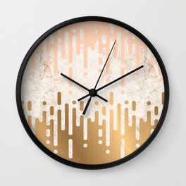 Marble and Geometric Diamond Drips, in Gold and Peach Wall Clock