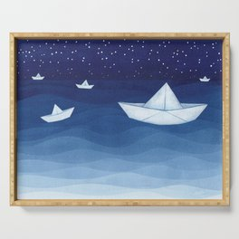 Paper boats illustration Serving Tray