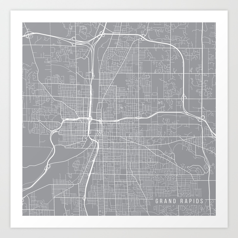 Grand Rapids Map Michigan Usa Pewter Art Print By Mainstreetmapscolor Society6