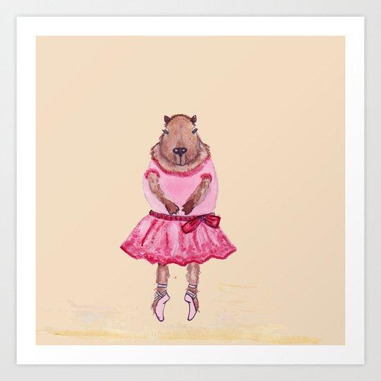 Capybara Ballerina  Art Print