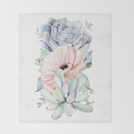 Pastel Succulents by Nature Magick Throw Blanket