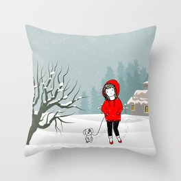 Snowy Christmas winter scene Throw Pillow