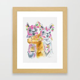Happy alpacas watercolor Framed Art Print