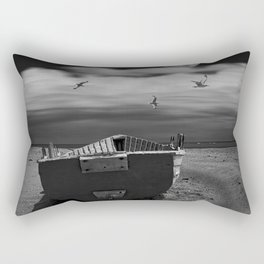 Row Boat on a Sandy Beach in Biscayne Bay Florida Rectangular Pillow