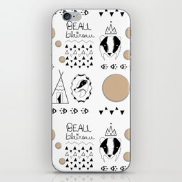 Pattern with badger and tipi iPhone Skin