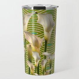 Teal Color Ivory Calla Lilies Garden Art Travel Mug
