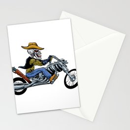skull ride a big motorcycle Stationery Cards