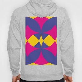 A lot of colored circles intersecting each others and forming eye shaped shapes. And a flower maybe. Hoody