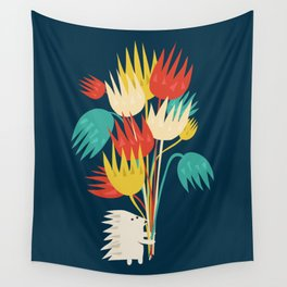 Hedgehog with flowers Wall Tapestry