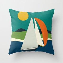 mid century sails Throw Pillow