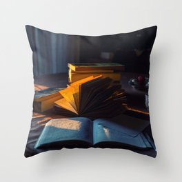 Sunset's light on books and notebooks Throw Pillow