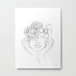 penser à lui - thinking of him -Dame fleur-Floral Illustration Metal Print
