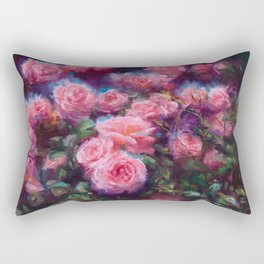 Out of Dust, impressionist pink roses Rectangular Pillow