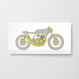 Motorcycle - Gray and Yellow Cafe Racer Metal Print