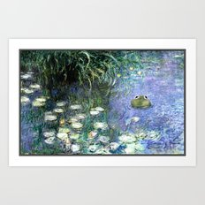 Water Lilies with Frog Art Print