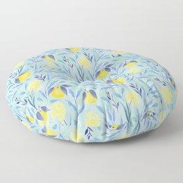 Wild Oranges Floral | Lemon & Duck Egg Blue Floor Pillow