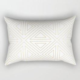 Angled White Gold Rectangular Pillow
